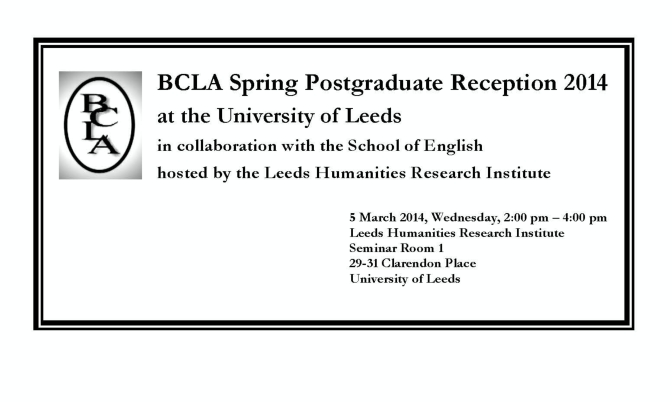 BCLA Spring Postgraduate Reception 2014